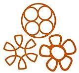 Youchan(ヨウチャン) キッチン 鍋しき なべ敷き花びら形 ポットパッド 鍋 耐熱冷 カラフル 3種 シリコン 雑貨 便利 おしゃれ 折りたたみ コンパクト 雑貨 デザイン キッチンアクセサリー 小物 台所用品 3種セット (オレンジ)