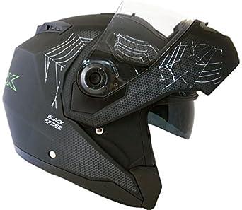 Motodor-Casque Moto Modulable Black Spider avec Visière Solaire (L)