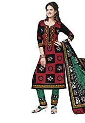 Salwar Studio Multicolor & Green Cotton Dress Material With Dupatta RangResham-1823