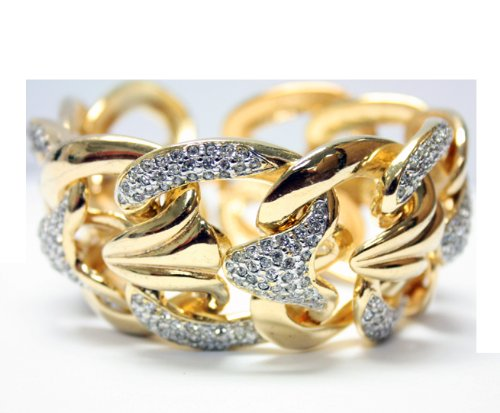 Gold Plated Large Link Bracelet with Cubic Zirconia Gemstones - Fashion Bracelet