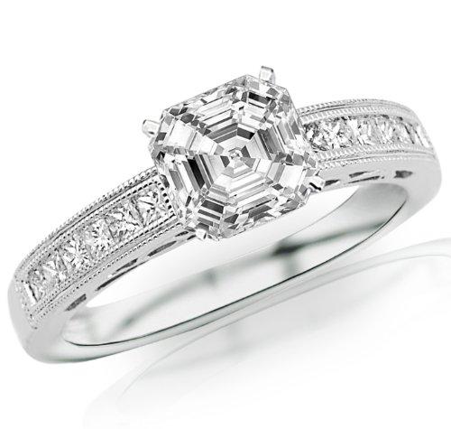 Price Comparisons 1.42 Carat Asscher Cut / Shape GIA Certified Channel Set Diamond Engagement Ring ( I Color , VS2 Clarity )