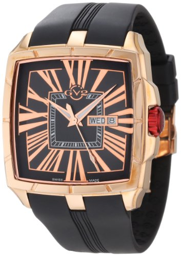 GV2 by Gevril Men's 9001 Fiamme Square Rose Gold IP Coated Case Sapphire Crystal Black Dial Day-Date Rubber Watch