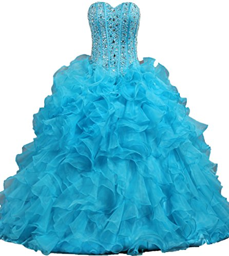 ANTS Women's Ruffled Quinceanera Dress 2016 Ball Gown Prom Dresses Size 16 US Blue (Blue Quinceanera Dresses compare prices)