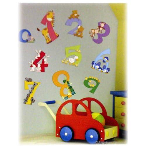 New Animal Numbers Kids Room Wall Mural Sticker Wallies