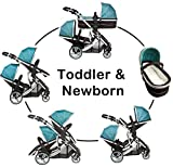 Duellette 21 BS combi Double Pushchair Twin Tandem complete carrycot/converts to seat unit .Compatible with Kidz Kargo Baby Safety pod or Britax Baby safe or Maxi Cosi adapters (sold separately) Free rain covers. Teal Mist by Kidz Kargo