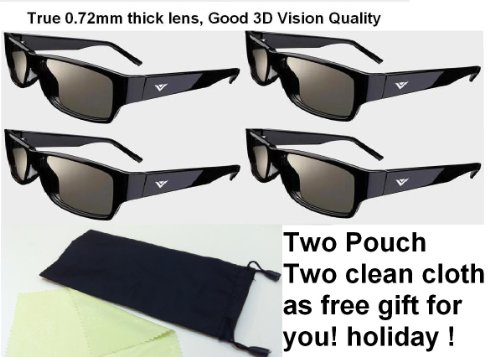 4 Pairs Theater 3d Passive 3d Glasses FIT for Vizio Lg 3d Tvs ----Free Gift Two Pouch + Two Cleaning Clotth