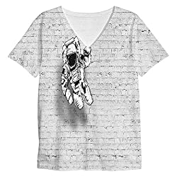 Snoogg Mr.Four Fingers Mens Casual V Neck All Over Printed T Shirts Tees