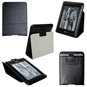 ProCase Slim Leather Folio Case Cover For Amazon Kindle Paperwhite 6 Inch e-Reader (Black, Smart Cover Case)