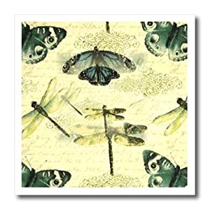 ht_100803_1 Florene Vintage - Vintage Dragonflies n Butterflies - Iron on Heat Transfers - 8x8 Iron on Heat Transfer for White Material
