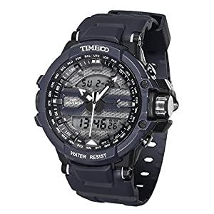 TIME100 Multifunction LCD Dual-time Display Silicone Strap Grey Outdoor Sports Digital Watch #W40110G.04A
