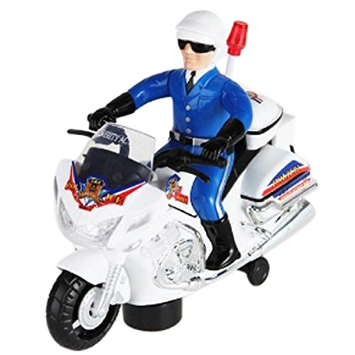 Cool Music Self-Steering Motorcycle Toy White By Preciastore