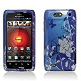 Motorola Droid 4 Droid4 xt894 Accessory-Navy Blue Flower and Butterflies Design Protective Hard Case Cover for Verizon+Screen/Lens Cleaning Cloth
