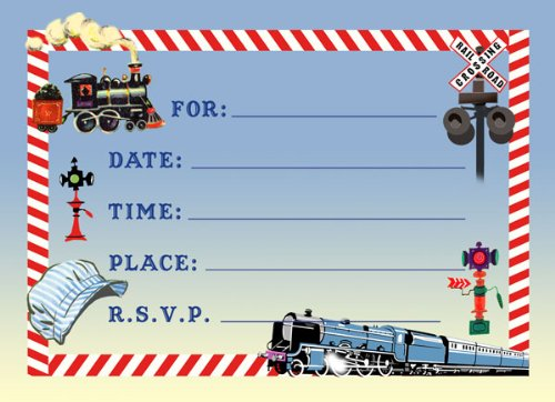 Dolce Mia Trains Birthday Party Invitations Party Pack - 8 cards