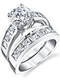 Sterling Silver Bridal Set Engagement Wedding Ring Bands with Round and Princess Cut Cubic Zirconia