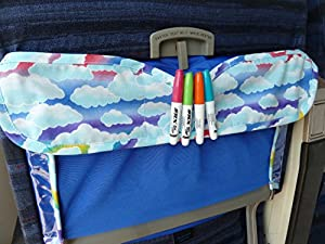 TRAYblecloth Airplane Tray Activity Cover (Blue Rainbow Clouds)