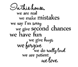 In this house...we are real we make mistakes we say I'm sorry we give second chances we have fun we give hugs we forgive we do really loud we are patient we love. Vinyl wall art Inspirational quotes and saying home decor decal sticker