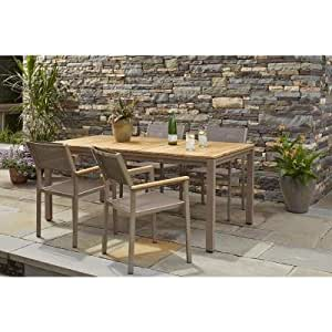 Gray Weather Resistant Teak 5 Piece Patio Dining Set Perfect D