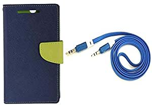 Novo Style Wallet Case Cover For Sony Xperia T2 Ultra Blue + 3 feet Slim 3.5mm Music Record Stereo Audio Auxiliary AUX Cable Cord