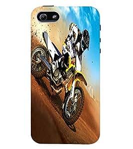 Fuson Premium Dirt Biking Printed Hard Plastic Back Case Cover for Apple iPhone 5 5S