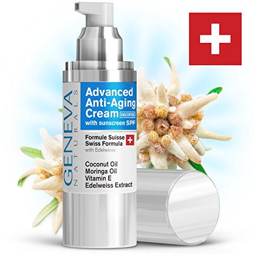 Geneva Naturals Anti-Aging Day Cream (Unscented) - Professional Swiss Formula SPF 20 Features Coconut Oil, Vitamin E & Edelweiss Extract For Anti-Aging Benefits & Everyday Protection From The Sun (Edelweiss Extract compare prices)