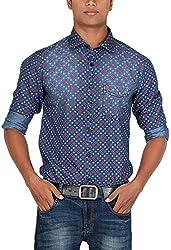 Botticelli Men's Denim Printed Full Sleeve Shirt (3591-FULL-E-S_Denim_Small)