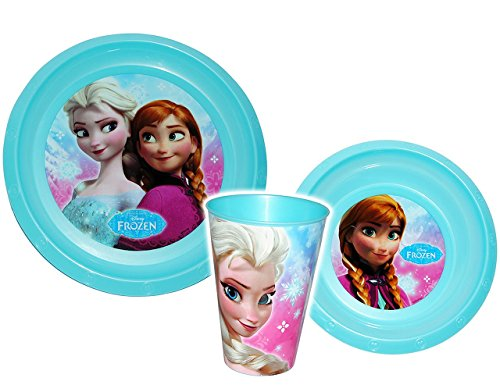 3-tlg-Geschirrset-Disney-die-Eisknigin-Frozen-Kunststoff-Trinktasse-Teller-Mslischale-Kindergeschirr-Campinggeschirr-Frhstcksset-fr-Kinder-Mdchen-Prinzessin-vllig-unverfroren-Prinzessin-Elsa-Anna-Aren