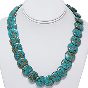 Round Green Turquoise Howlite Necklace 18 Inch With Lobster Clasp