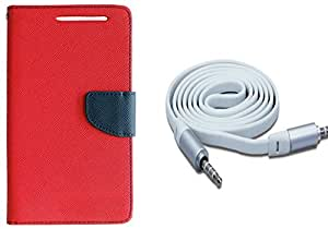 Novo Style Wallet Case Cover For NokiaLumia435 Red + 3 feet Slim 3.5mm Music Record Stereo Audio Auxiliary AUX Cable Cord