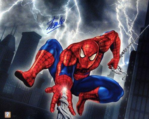 Stan Lee Signed Spiderman Web Slinger 16x20 Photo