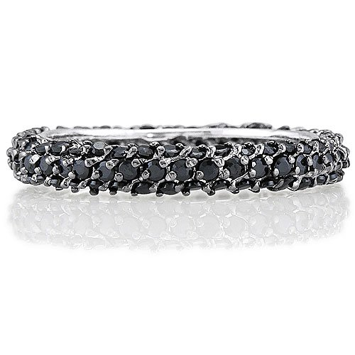 Sterling Silver Black Cubic Zirconia CZ 3Row Eternity Fashion Ring