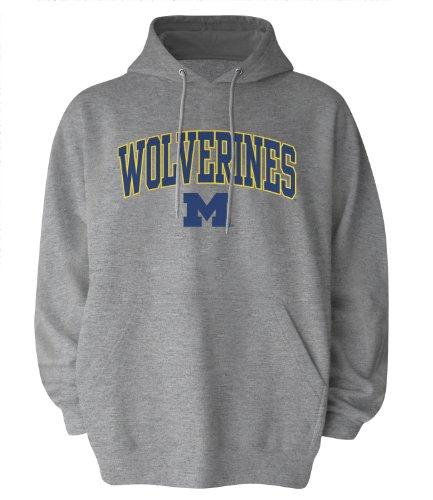 NCAA Michigan Wolverines Gildan Hoodie, X-Large, Dark Ash (Wolverine Mascot)