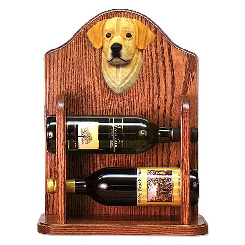YELLOW Labrador Retriever Wine Rack 2 Bottle Design in Dark Oak by Michael Park