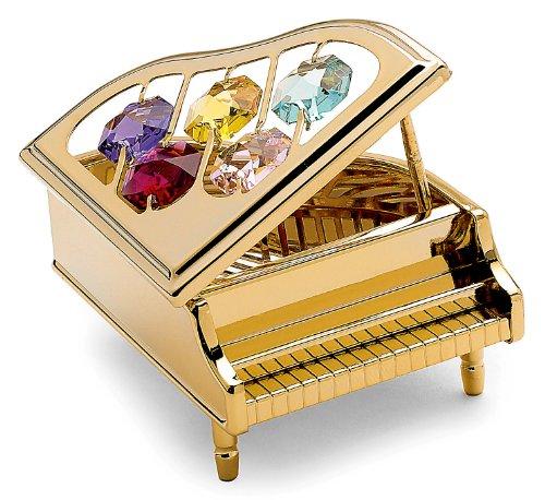 Pianoforte a Coda in miniatura-Colore oro-Perle di Swarovski-Crystocraft