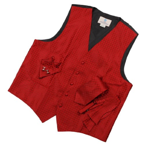 VS1025 Red Plaids Mens Vest Tie Cufflinks Hanky Bowtie Groom Gifts By Y&G