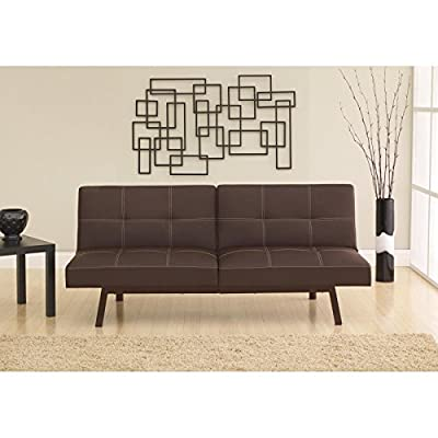 Split Back Futon Sofa Bed Sleeper Convertible Couch Leather Faux New Lounger Room Black Furniture Dorm Emily Modern Living Linen Wood frame Dimensions: 71L x 31W x 36.5H inches 600 lbs weight limit