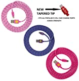 Qable Powerz(TM) NEW DESIGN High Quality, 6ft(2m) Braided Nylon Lightning Charging Cables for Apple iPhone 5 5C 5S, iPad 4 Mini, iPod Touch 5/Nano 7, 8 pin to USB -3-pack (soft pink-purple-hot pink)