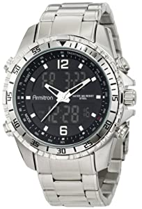 Armitron Men's 20/4815BKSV Analog-Digital Black Dial Silver-Tone Bracelet Watch