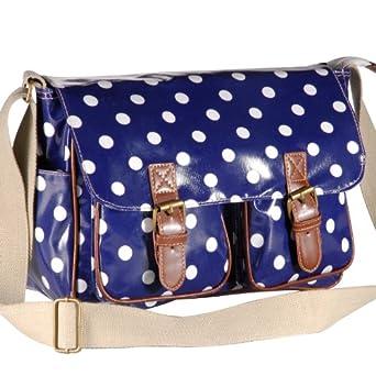Oilcloth Polka Dots Crossbody Saddle Bag Satchel Shoulder Messenger 26