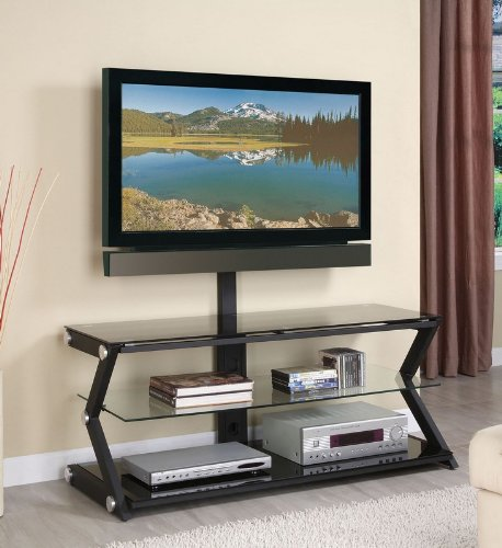 Cheap 50″ TV Media Stand with Bracket and Chrome Accents in Sandy Black Finish (AZ00-46551×21241)