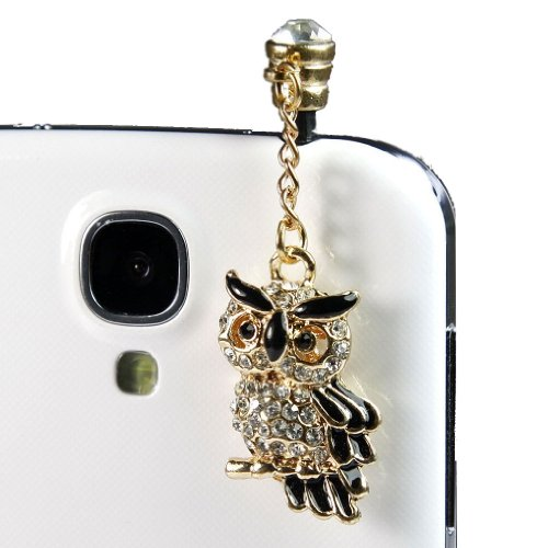Hjx Black 3.5Mm Owl Crystal Bling Rhinestone¡¡Anti-Dust Plug Stopper Earphone Jack For Iphone And Other Smartphones- All 3.5Mm Ear Jack