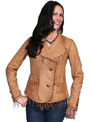 Scully Leather Womens Delicate Knotted Fringe Soft Lamb Jacket Ranch Tan M