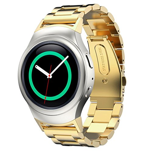 Gillberry Stainless Steel Watche Band + Connector For Samsung Gear S2 RM-720 (Gold) (Gold Rims Bmx compare prices)