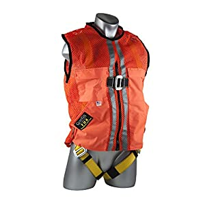 Guardian Fall Protection 02120 Orange Mesh Construction Tux Harness, Large
