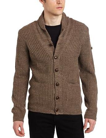 Ben Sherman Men's Shawl Collar Cardigan, Almond Marl, X-Large