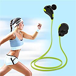 Lightweight Wireless Sports Headphones with Microphone for iPhone, iPad, Samsung and Android Smartphone - Green/Black