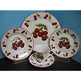 Red Cherry Dinnerware dinner set 20 Pcs plates dishes cherries Kitchen decor home.