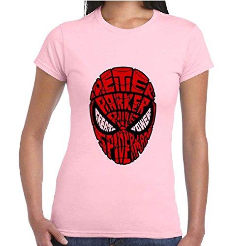 T-Shirt Cotone Donna Maglia Maniche Corte Supereroi Marvel Con Stampa Spiderman, Colore: Rosa, Taglia: M