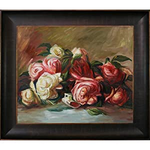 overstockArt Renoir Discarded Roses Painting with Veine D'/Bronze Scoop, Rich Brown Finish
