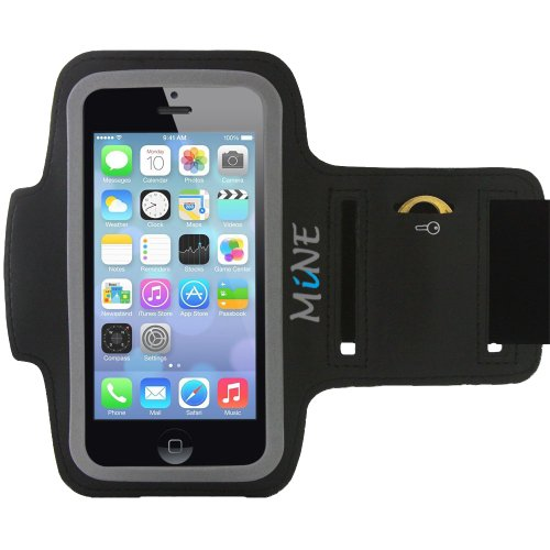 Mine Sport Armband For Iphone 5 / 5S / 5C, Ipod Touch 5 / 5G Running Armband, Also Iphone 4S Armband For Running, (Black) Gym Work Out - Look Sharp - Protect Your Investment - Best Lifetime Guarantee!