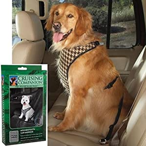 Cruising Companion Houndstooth Dog Car Harness, X-Large, Chocolate